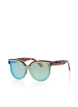 Mirrored Cat Eye Shield Sunglasses - 1133071213053