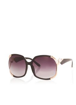 Oversized Open Side Metallic Detail Sunglasses - 1133071219709