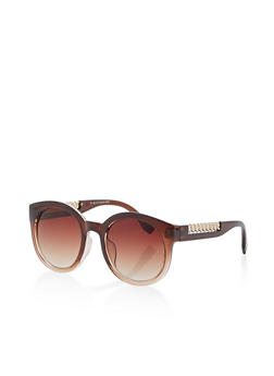 Two Tone Chain Detail Round Sunglasses - 1134004260715