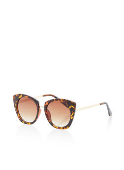 Round Cat Eye Sunglasses with Metallic Bridge - 1134004261693