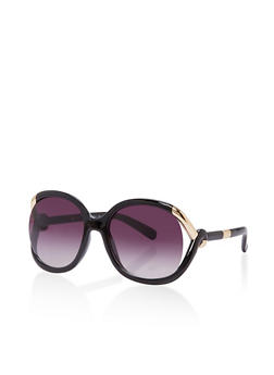 Large Round Sunglasses with Metallic Detail - 1134004261923