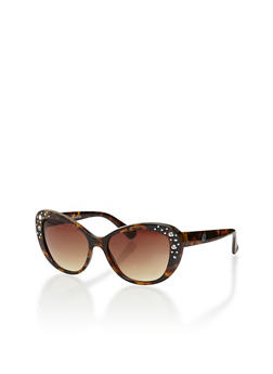 Vintage Cat Eye Sunglasses with Rhinestone Detail - 1134004262674