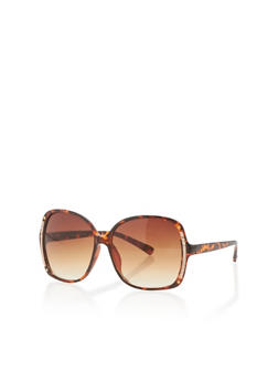Wide Plastic Frame Sunglasses with Metal Detail - 1134004265133