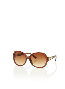 Oval Sunglasses with Metal Hinge - 1134004265338