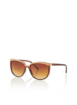 Oversized Metal Brow Sunglasses - 1134004265399