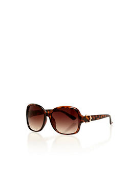 Oval Frame Sunglasses with Metal Trim Hinge - 1134004265405