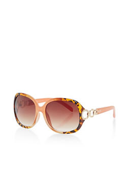 Oversized Sunglasses with Metallic Arm Detail - 1134004265450