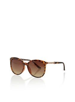 Round Plastic Frame Sunglasses with Metal Accents - 1134004265470