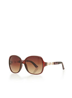 Two Tone Twisted Metal Frame Sunglasses - 1134004265475