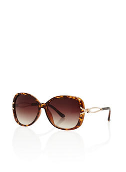 Oversized Plastic Frame Sunglasses with Metallic Cut Out Details - 1134004269103