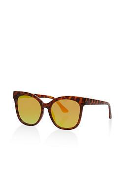 Mirrored Metallic Plastic Sunglasses - 1134056174361