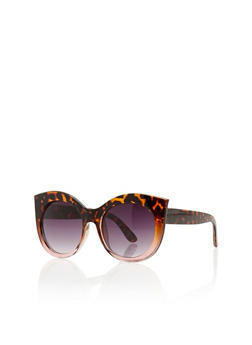 Tinted Thick Frame Cat Eye Sunglasses - 1134056178602