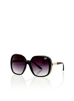 Oversized Square Sunglasses with Metal Accent - 1134071210407