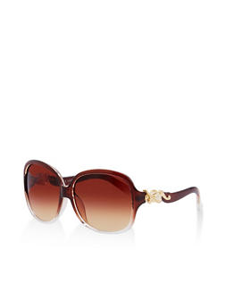 Faux Pearl Detail Square Sunglasses - 1134071211004