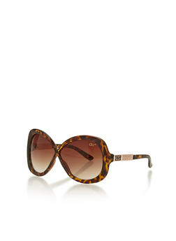 Oversized Plastic Frame Sunglasses with Metal Accent Arms - 1134071211054