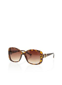 Square Frame Sunglasses with Rhinestone Trim Metal Hinge - 1134071211058