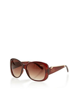 Large Square Sunglasses with Metal Trim Temple - 1134071211059