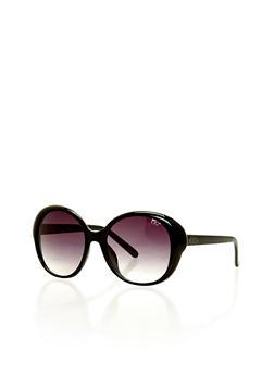 Metal Trim Oversized Round Sunglasses - 1134071213143