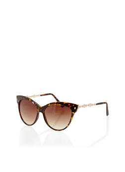 Plastic Cat Eye Sunglasses with Metallic Accents - 1134071219319