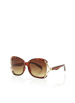 Over Size Metal Accent Sunglasses - 1134071219590