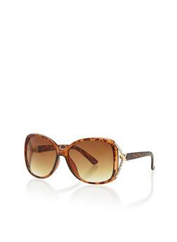Rhinestone Cross Corner Square Sunglasses - 1134071219627