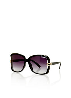 Oversized Square Metal Accented Sunglasses - 1134071219655