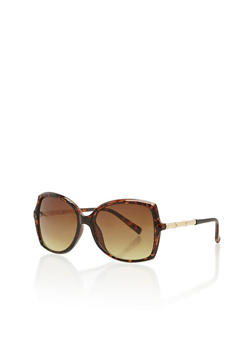 Square Sunglasses with Bamboo Metallic Features - 1134071219674