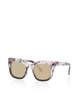 Floral Trim Square Sunglasses - 1134071221641