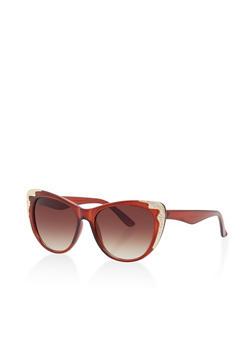 Metallic Trim Cat Eye Sunglasses - 1134071222697