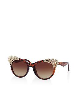Metallic Detail Cat Eye Sunglasses - 1134071222699