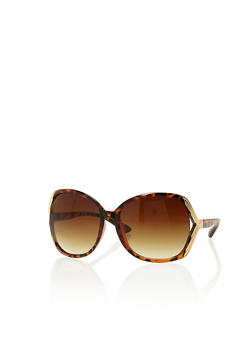 Oversized Sunglasses with Cut Out Metallic Sides - 1134073210207