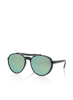 Plastic Frame Colored Lens Aviator Sunglasses - 1134073211402