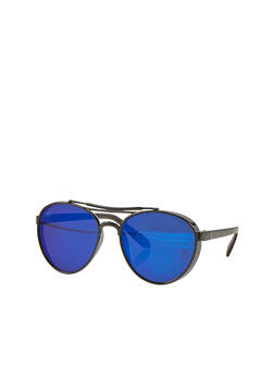 Plastic Frame Colored Lens Aviator Sunglasses - 1134073211402