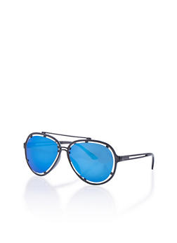 Top Bar Cut Out Colored Lens Aviator Sunglasses - 1134073211403