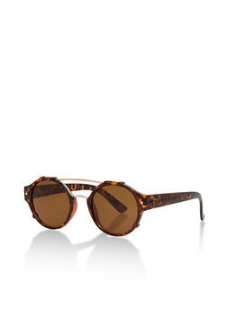 Round Frame Sunglasses with Metallic Top Bar and Bridge - 1134073212404