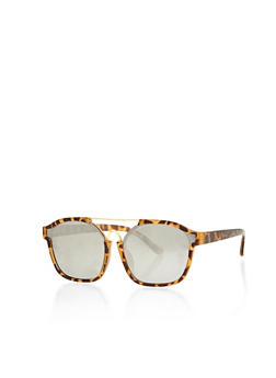 Double Metal Bar Sunglasses with Mirrored Lens - 1134073212406