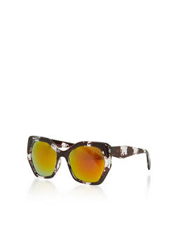 Geometric Thick Plastic Frame Sunglasses - 1134073214075