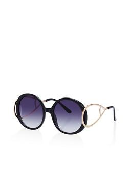 Oversized Round Metallic Arm Sunglasses - 1134073215027