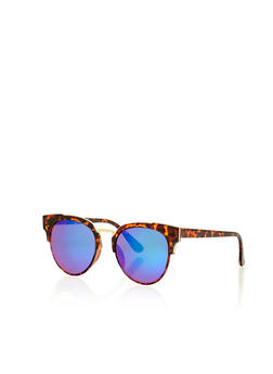 Round Sunglasses with Plastic Frame and Metal Top Bar - 1134073217337