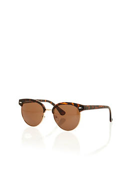 Top Bar Round Sunglasses with Metal Frame - 1134073217338