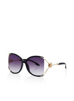 Oversized Metallic Rose Arm Sunglasses - 1134073219073