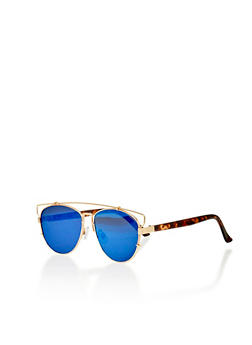 Flat Frame Aviator Sunglasses with Full Lined Top Bar - 1134073922668