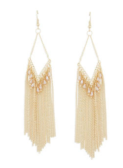 Metallic Fringe Beaded Chandelier Earrings - 1135003201029