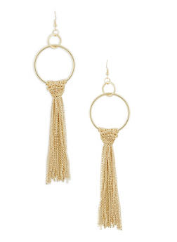 Hoop Drop Earrings with Knotted Chain Fringe - 1135003201031