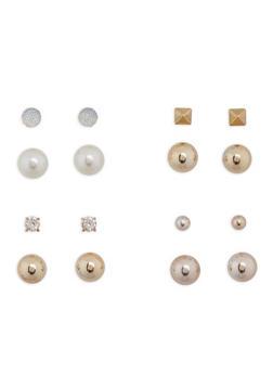 Faux Pearl Ball Reversible Stud Earrings - 1135003201059
