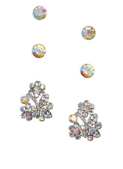 Set of 3 Flower and Rhinestone Stud Earrings - 1135003201201
