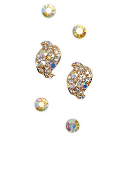 Rhinestone Leaf and Stud Earrings - 1135003201203