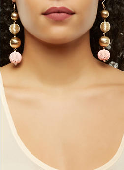 Linear Ball Drop Earrings - 1135018434560