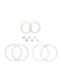 Set of 6 Hoop and Stud Earrings with Rhinestone Accents - 1135024131436