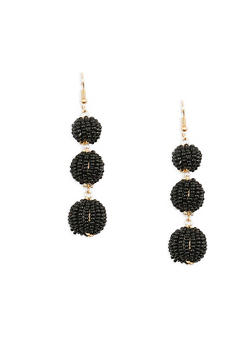 Beaded Ball Drop Earrings - 1135029360197